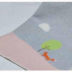 David Fussenegger David Fussenegger jewel baby blanket embroidery fox gray / pink
