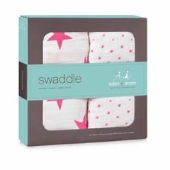 Aden + Anais Aden and Anais Swaddle Puck cloth 120x120 Fluro Pink 2er