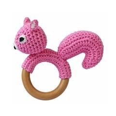 Sindibaba Sindibaba rattle Greifling Squirrel pink