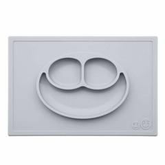 ezpz ezpz Happy Mat Silikon Platzmatte Teller silber grau