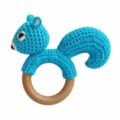 Sindibaba Sindibaba Rattle grasping toy squirrel blue