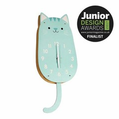 Rex International Rex Wanduhr groß Holz Katze Cookie mint