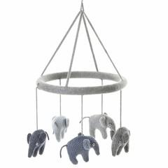 Smallstuff Smallstuff Mobile Elefant blau/grau gestrickt