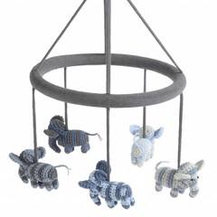 Smallstuff Smallstuff Mobile Elefant blau/grau geringelt