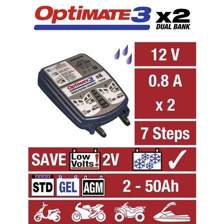 Tecmate Optimate 3 x 2 laad en onderhoud 2 accu's gelijktijdig