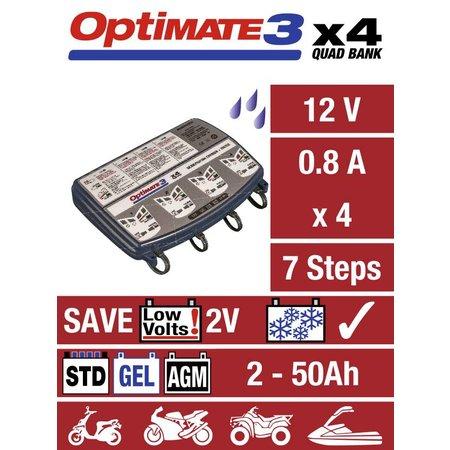 Tecmate Optimate 3 x 4 laad en onderhoud 4 accu's gelijktijdig