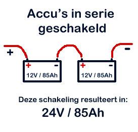 Accu's in serie geschakeld