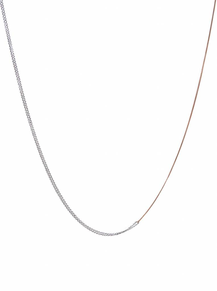 Dutch Basics Interlinked Chain Necklace - Silver & Rose
