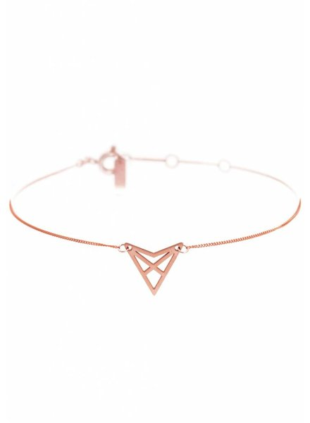 Dutch Basics Triangle Bracelet 'HEF' - Rose Plated