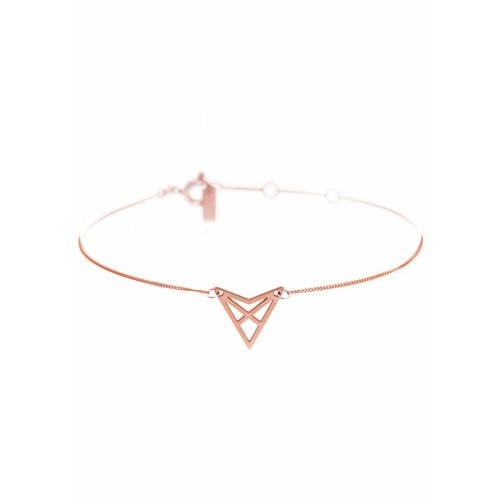 Dutch Basics Triangle Bracelet 'HEF' - Rose Plated