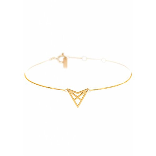 Dutch Basics Triangle Bracelet 'HEF' - Gold-Plated
