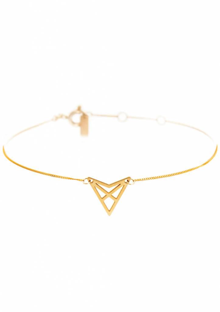 Dutch Basics Triangle Bracelet 'HEF' - Gold-Plated