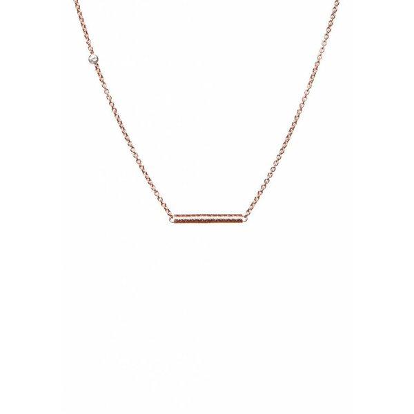 Cylinder Bar Necklace - Rose Plated