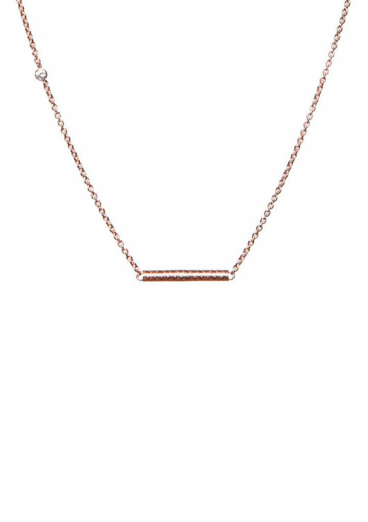 Dutch Basics Rose Necklace With Cylinder Bar Pendant 2rZ7lN4