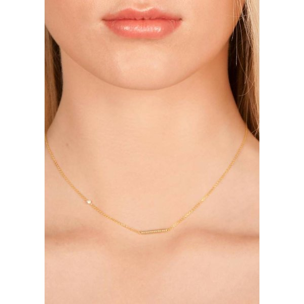 Cylinder Bar Necklace - Gold-Plated