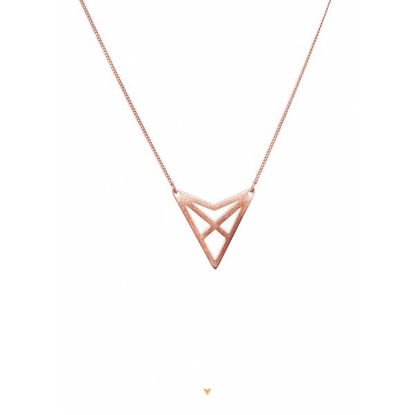 Triangle Necklace 'HEF' - Rose-Plated