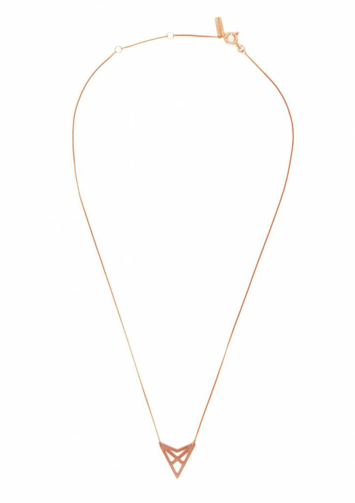 Dutch Basics Triangle Necklace 'HEF' - Rose-Plated
