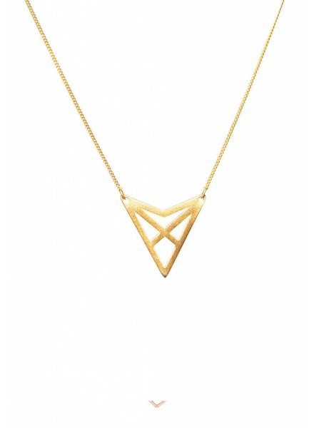 Dutch Basics Triangle Necklace 'HEF' - Gold-Plated