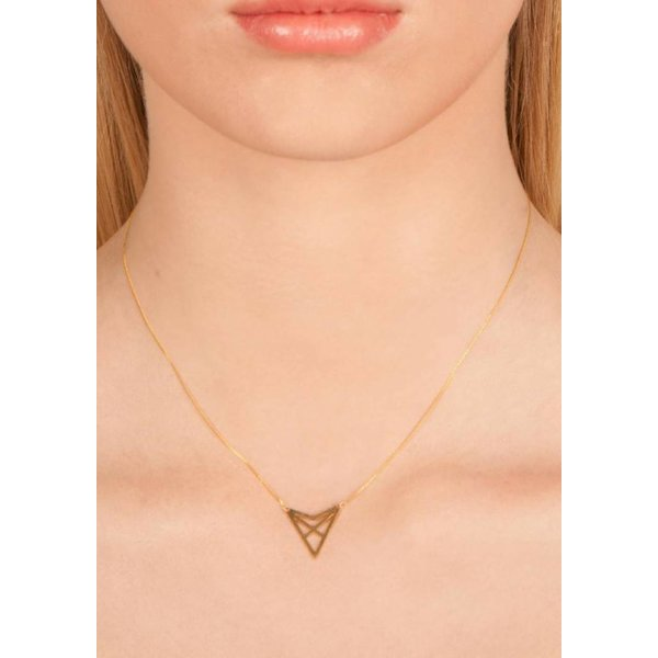 Triangle Necklace 'HEF' - Gold-Plated