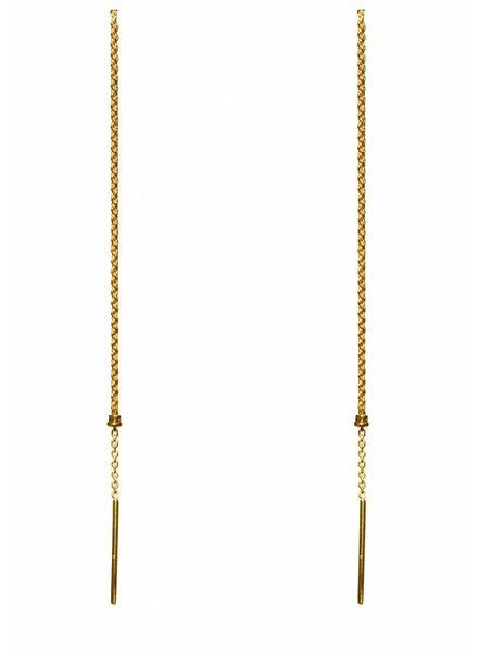 Dutch Basics Cylinder Drop Chain Earrings - Gold Plated