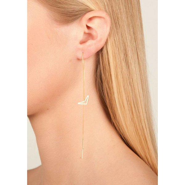 Diamond Drop Chain Earrings 'TUI' - Rose-plated