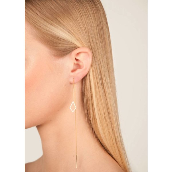 Diamond Drop Chain Earring 'RUIT' - Rose-plated