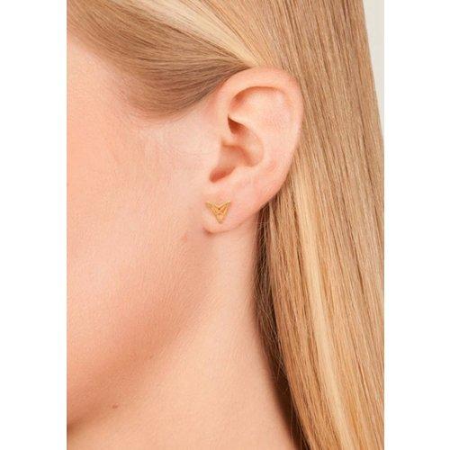 Dutch Basics Triangle Stud Earrings 'HEF' - Gold Plated