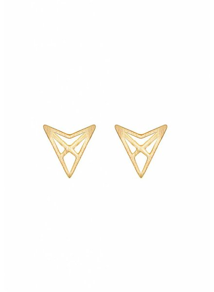 Dutch Basics Triangle Stud Earrings 'HEF' - Gold Plated
