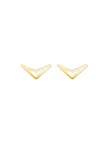Dutch Basics Triangle Stud Earrings 'TUI' - Gold Plated