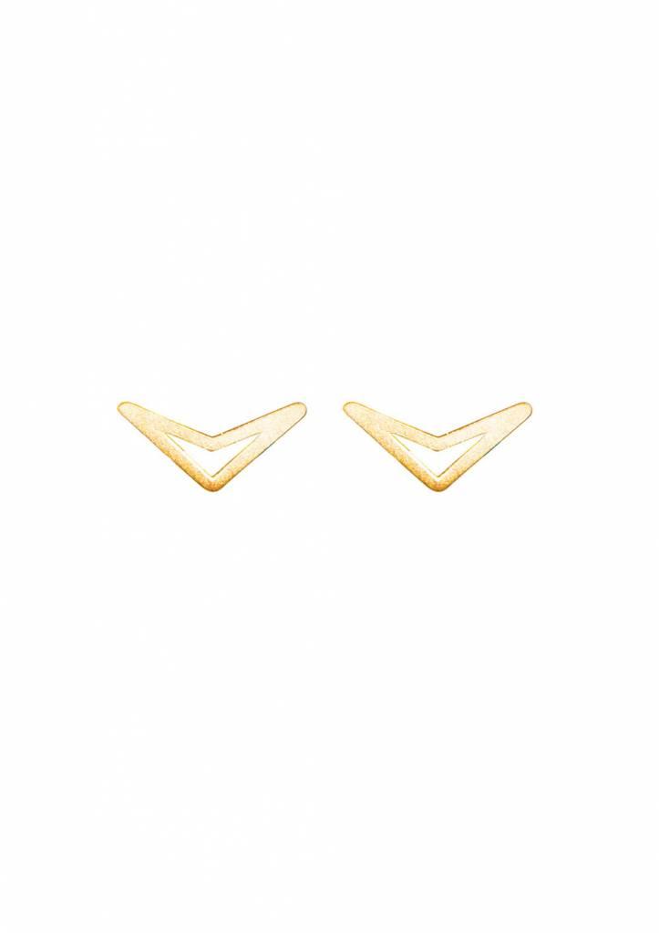 Dutch Basics Triangle Stud Earrings 'TUI' - Gold Plated