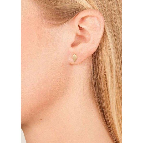 Diamond Stud Earrings 'RUIT' - Gold Plated
