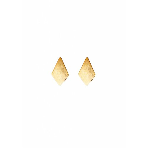 Dutch Basics Diamond Stud Earrings 'RUIT' - Gold Plated