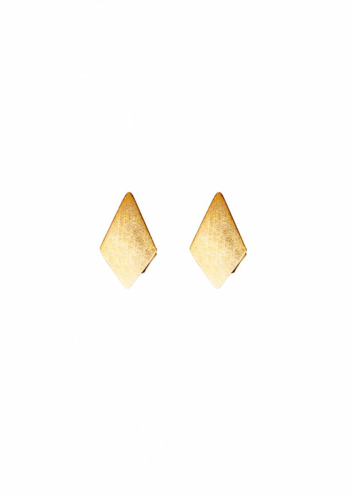 Diamond Stud Earrings Ruit Gold Plated