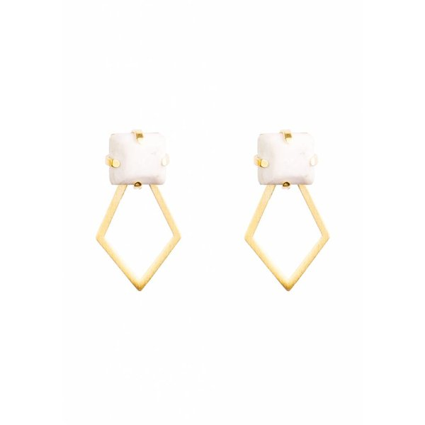 White Porcelain Detachable Earrings