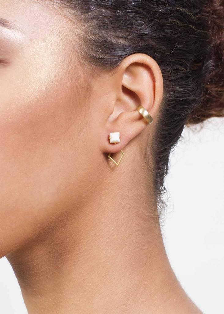 Dutch Basics White Porcelain Detachable Earrings