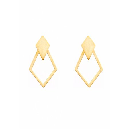 Dutch Basics Detachable Earrings 'Ruit' - Gold-Plated
