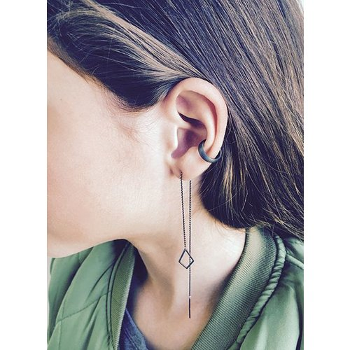 Dutch Basics Oxidized Silver Drop Chain Earring