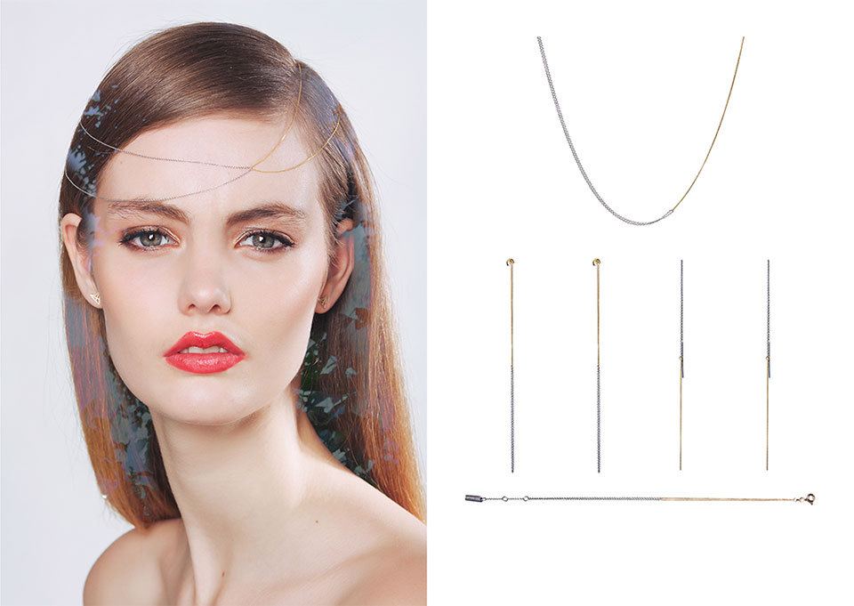 Interlinked necklace and earrings