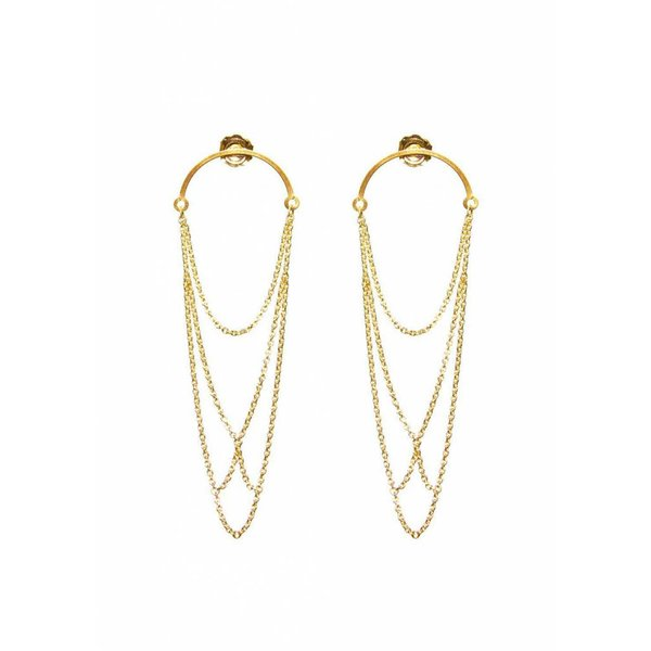 Curved Arch Earrings -Gold Plated