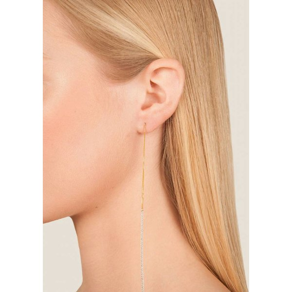 Interlinked Studs Chain Earrings - Silver & Gold-Plated