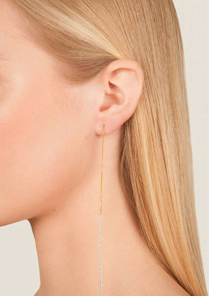 Dutch Basics Interlinked Studs Chain Earrings - Silver & Gold-Plated
