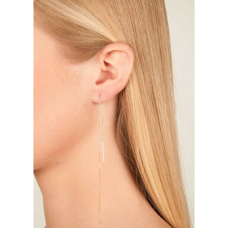 Dutch Basics Interlinked Drop Chain Earrings - Silver & Gold-Plated