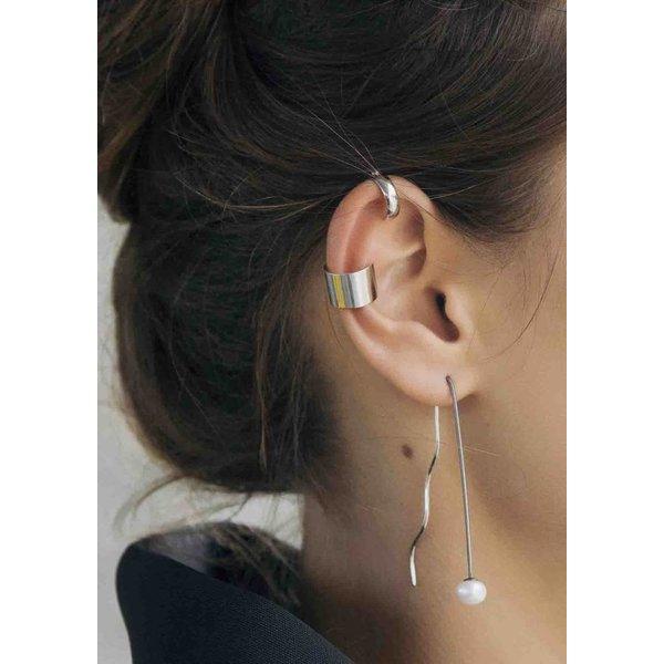 Pearl Drop Wave Earring - Silver