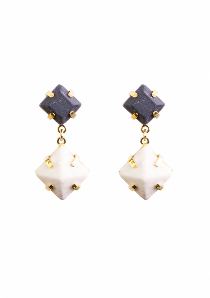 Dutch Basics Double Drop Porcelain Earrings