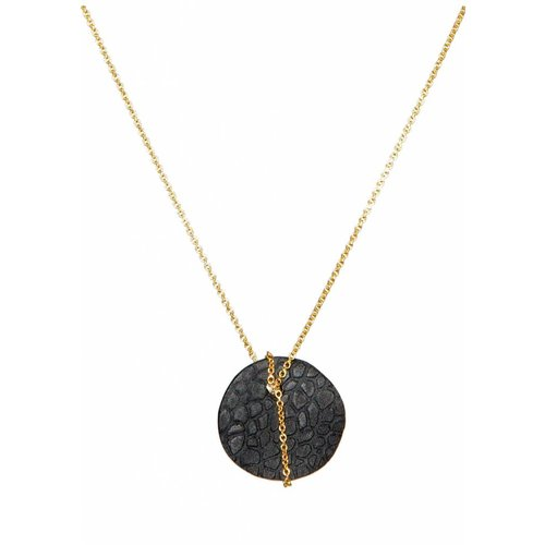 Dutch Basics Black Porcelain Moon Necklace