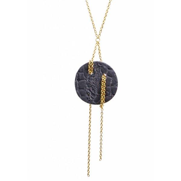 Black Porcelain Moon Pendant Necklace