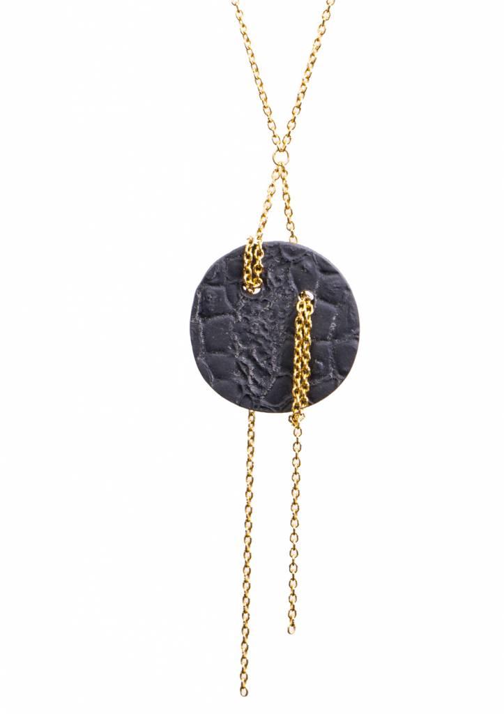 Dutch Basics Black Porcelain Moon Pendant Necklace