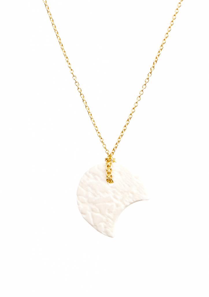 Dutch Basics White Porcelain Half Moon Necklace