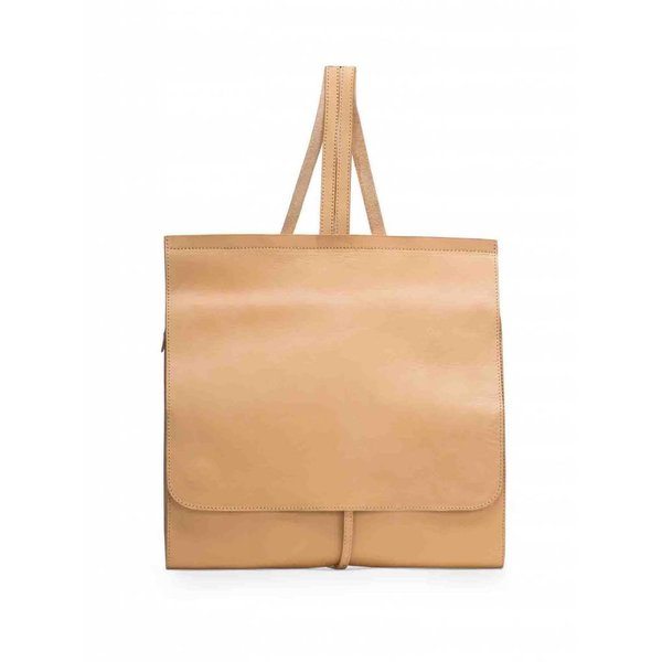 Minimal Leather Backpack - Camel