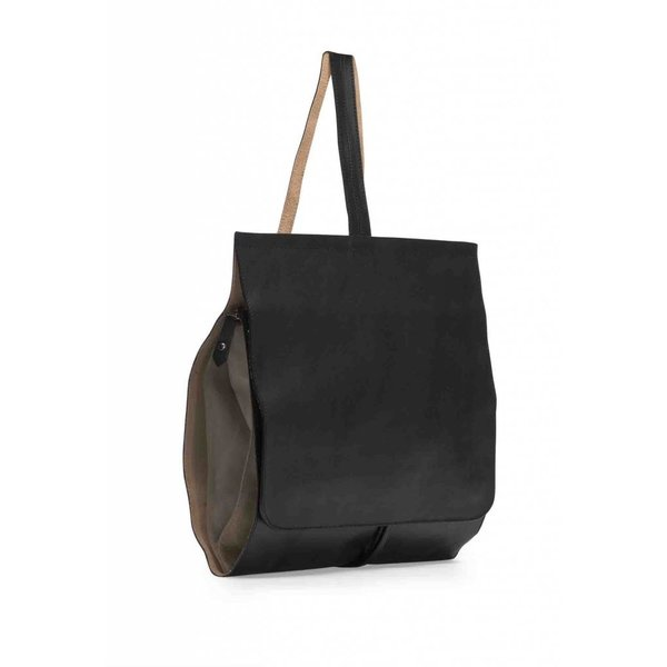 Minimal Leather Backpack - Black